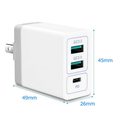 USB Type-C PD Power Delivery and Quick Charge QC3.0 30W Wall Charger for iPhone