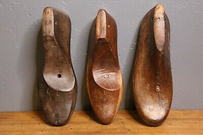 Vintage Antique Wooden Cobbler Shoe Form Molds industrial paper weight rustic 3