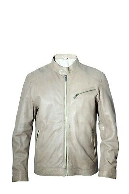 Mens Real Dark Taupe Sheep Leather Slim Biker Jacket Casual Outwear LCM3