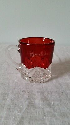 Antique Glass Ruby Red Flash Etched Crystal Vintage Souvenir Collectors Cup