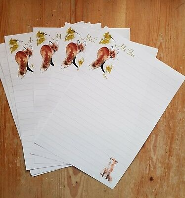 Lonesome Fox letter writing paper set with matching envelopes 6+6+4