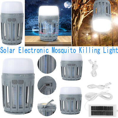 Solar Electric Mosquito Fly Bug Insect Zapper Killer With Trap Lamp Light