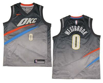 bee7cc3af4a Youth Nike Russell Westbrook #0 OKC Thunder Gray Swingman Jersey L (14/16