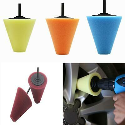 4x Car Wheel Hub Polish Buffing Shank Polishing Tool Sponge Cone Foam Wool Pads