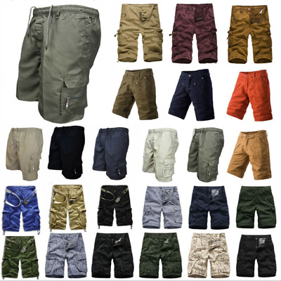 Men Casual Camo Cargo Shorts Military Army Style Combat Work Pants Multi-Pockets