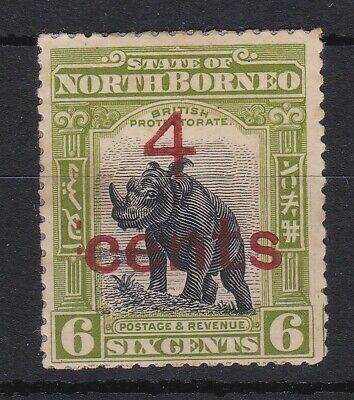 BC548) North Borneo 1899 4c on 6c Rhino SG 113. MGN with faults