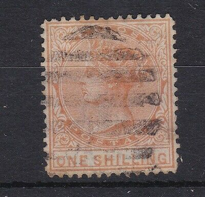 BC581) Lagos 1879 1/- Orange SG 16 well centred used with light barred cancel