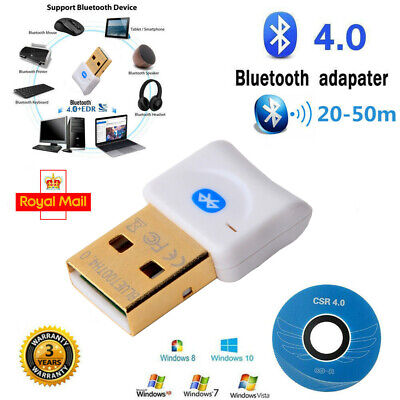 USB Bluetooth V4.0 CSR Wireless Dongle Adapter fr Windows 7 8 10 PC Laptop WHITE