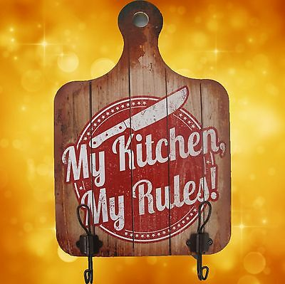 Wall Sign Towel Holder Wood My Kitchen Decoration Signs Panels Rarity 1