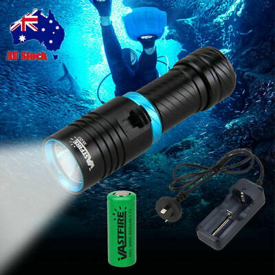 Underwater 100m 10000LM T6 LED Diving Scuba Flashlight Torch Light 26650+Charger