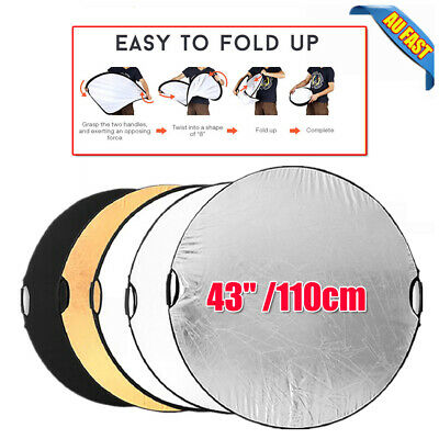 """Photography Photo Light Mulit Collapsible Disc Reflector Handle 5-in-1 43""""/110cm"""