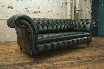 Traditional 3 Seater Antique Green Leather Chesterfield Sofa Couch Chair