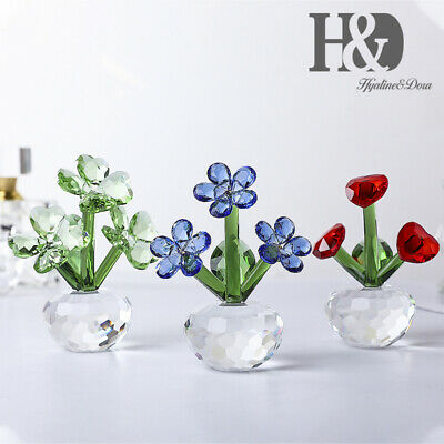Crystal Flower Figurine Home Ornament Art Craft Glass Bouquet Flowers Gift-Boxed