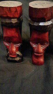 Vintage Hand Carved Wooden Sculptures Ethnic Native Man & Woman made in Jamaica