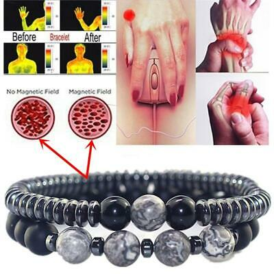 Magnetic Bracelet Beads Hematite Stone Therapy Health Care Weight Loss Unisex