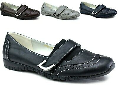 Ladies New Leather Cushioned Shoes - Comfy Slip On Easy Fasten Shoes UK Size 3-8