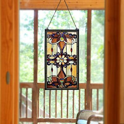 Stained Glass Window Panel Sun Catcher Home Wall Decor Hung Art Elegant Colors