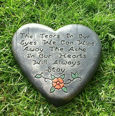 The tears in our eyes.Extra large Memorial stone.plaque.heart.grave marker a