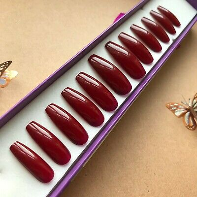 Hand Painted False Nails XL COFFIN (or ANY) High Gloss Dark Red - plain UK NEW