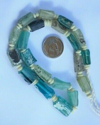 Ancient Old Roman Glass Rectangular Beaded Era 18th Century Strand Necklace Rare