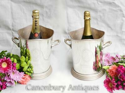 Pair French Silver Plate Roederrer Champagne Wine Cooler Buckets