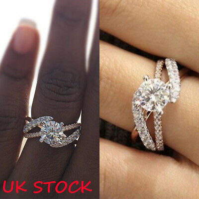 Womens Silver Copper Rings Engagement Wedding Cubic Zirconia  Ring Jewelry 6-10