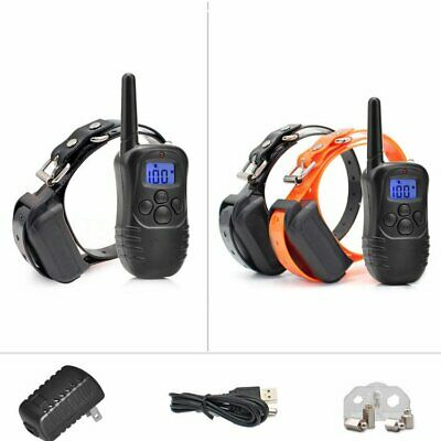 LCD Electric Shock Collar Remote Control Dog Training Anti-Bark Two Collars 330Y