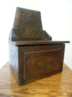 A Large Antique French Carved Oak Church Candle Box