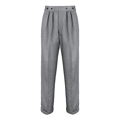 Mens Authentic 1940s Swing Vintage Style Grey Notch Fishtail Highwaist Trousers