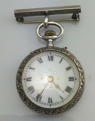 Edwardian Silver & Enamel Swiss LEpine  Pocket Watch & Presentation Box 1902