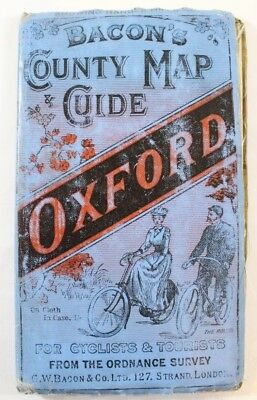 Antique Bacon's County Map & Guide Oxford. Cyclists & Tourists