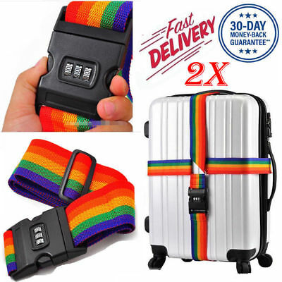 2X Adjustable Luggage Suitcase Strap Travel Baggage Lock Belt Password Combinati
