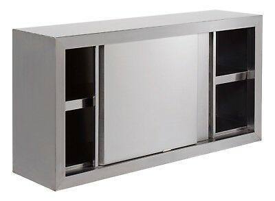 4 Foot Stainless Steel Wall Cupboard With Sliding Doors 1219 X 305 X 610 Mm
