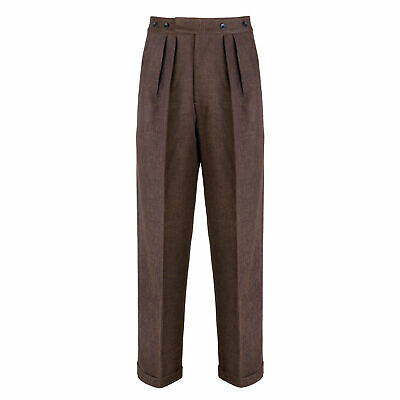 Mens Authentic 1940s Swing Vintage Style Dark Brown Fishtail Highwaist Trousers