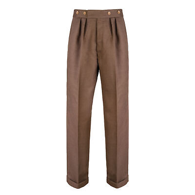 Mens 1940s Vintage Style Swing Trousers Brown Highwaist Notch Fishtail Trousers