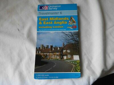 OS Travelmaster Map 6 - . East Midlands and East Anglia Good Condition.