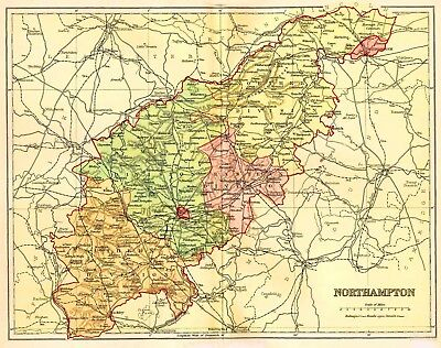 Map of The County of Northampton, England,C1850.