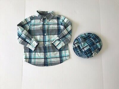 Gymboree Plaid Shirt Button Down And Matching Hat Boys Toddler Size 2t Preowned