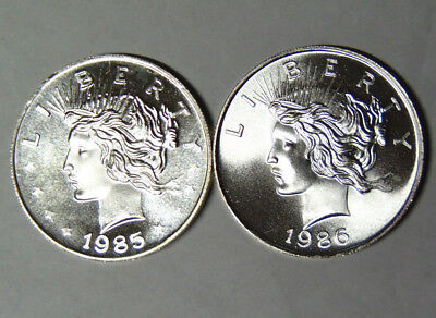 1985 1986 Peace Dollar Style 1 oz .999 Fine Silver Rounds Lot of 2 (92118)