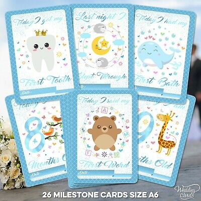 Baby Milestone Cards 1st Year Keepsake Boy Age Son First Shower Favour Birthday