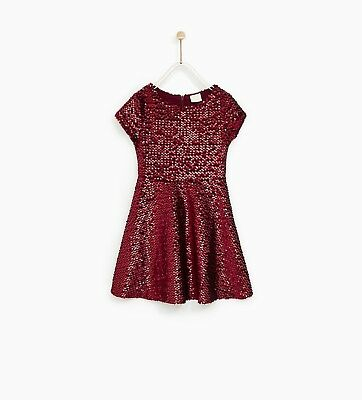 NWT ZARA Girls Gold Sequin Party Dress Size 13-14 years $45.90