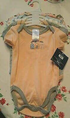 LAURA ASHLEY BABY Girls 5 Pack One Piece BODYSUITS 3-6 months NEW with Tags