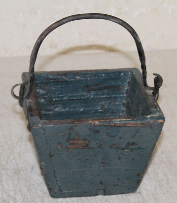 Antique Style Wooden Rice Measure Box Bucket Painted Wrought Iron Handle Farm #2
