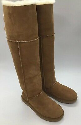 c4c339b7e66 UGG BAILEY BUTTON Over the Knee Chestnut Suede Fur Boots Womens Size ...