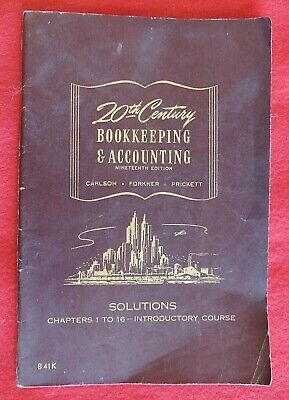 20th Century Book-Keeping & Accounting Solution Guide Carlson 19th Edition c1947