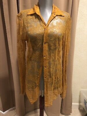 bae6ed0f7ff356 Jean Paul Gaultier stretchable lace top blouse great color AS IS size 42 M
