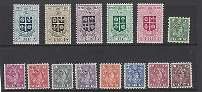 St Lucia  1949    New Currency Set  Of 14   Mh