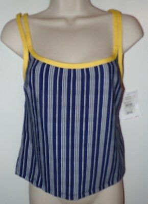 655673e71fc91 New Liz Claiborne Womens Tankini Swim Suit Top Blue White Stripe Yellow  Small S