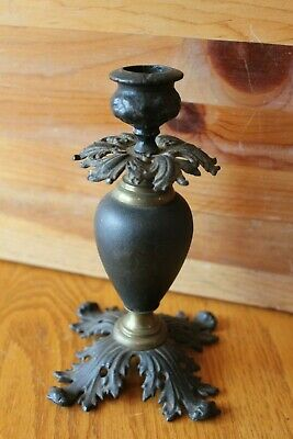 """Candlestick Cast Iron and wood vintage rustic 6-1/2"""" Antique candle holder"""
