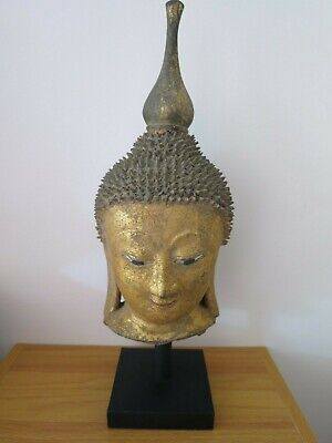 Antique 18th Century Burmese Shan Gold Gilt Wood Buddha Head - 36cm/14""